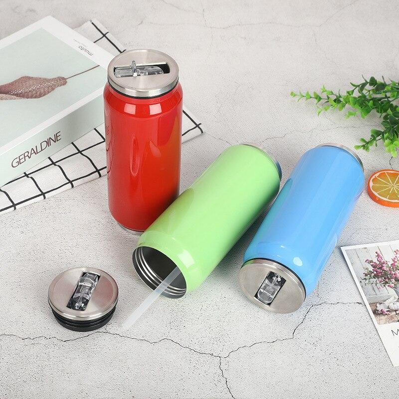 2020 lindo 500ML pajita, termo taza de vacío de acero inoxidable frascos de botella de agua de chico niño latas taza Thermocup