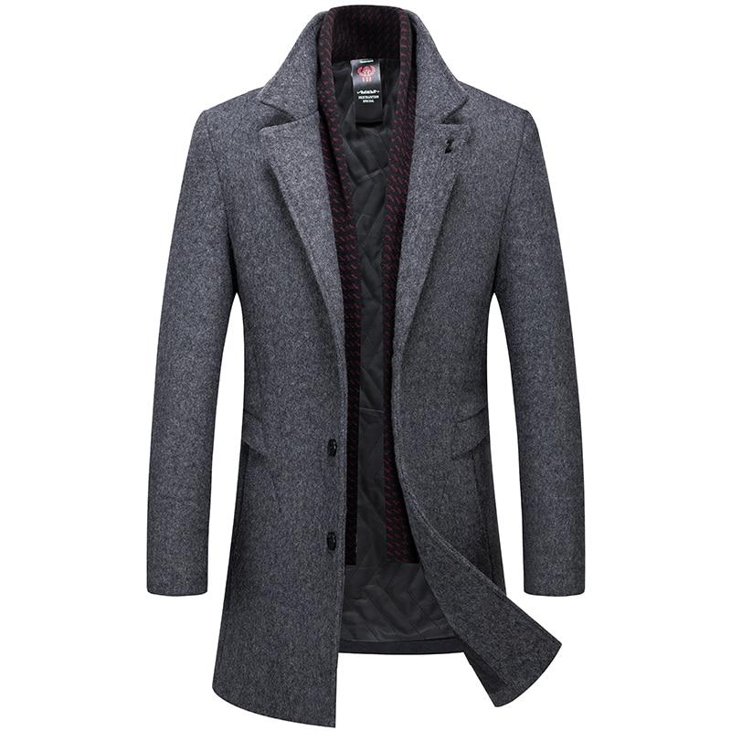 Men's Coat Solid Wool Trench Coat Casual Men's Winter Coat Long Jacket Men Gray Navy Blue Men's Jacket High Qulity Overcoat