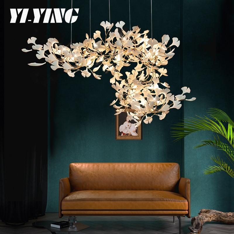 ثريا فاخرة على شكل فروع ذهبية وأوراق خزفية ، تصميم جديد ، ديكور داخلي ، إضاءة سقف مزخرفة ، مثالية لغرفة الرسم.