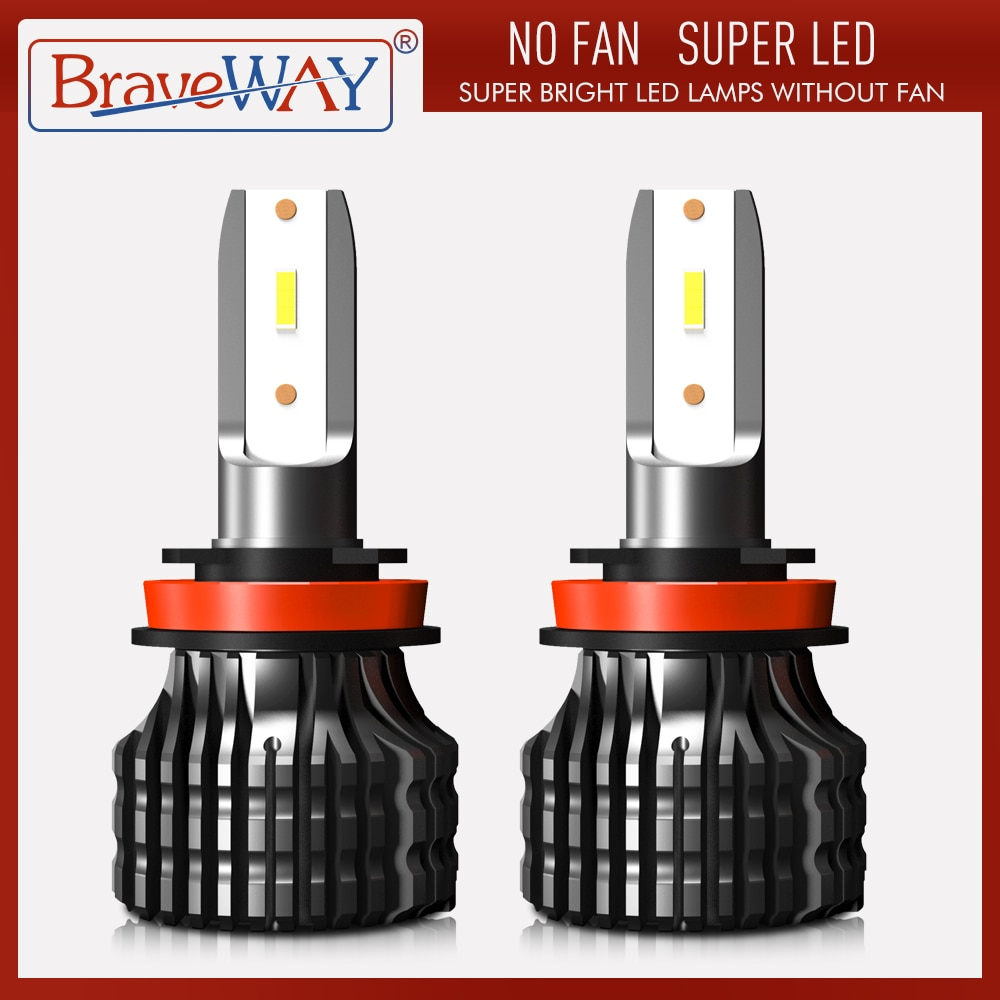 BraveWay LED Car Light H4 H7 H8 H11 9005 9006 H1 BH3 BH4 Headlamp 12000LM 6500K 80W 12V LED Bulb for Auto Led Headlight for Cars