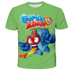 Superzings Fashion T Shirt Summer Short Sleeve O-neck Tshirt Super Zings Tees Baby Boys Kids Casual Cartoon Tops Girls T-shirt