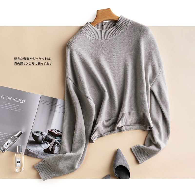 Shuchan 100% Wool Knit Cropped Sweater Pullover Autumn Winter New 2021 Streetwear Half High Collar  Solid Thick Full Sleeve Tops enlarge