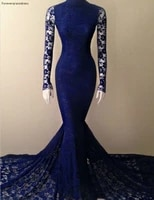new arrival navy blue mermaid lace evening dress high neck long sleeves women wear special occasion gown