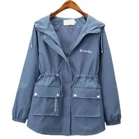 spring autumn new casual windbreaker female student outerwear korean style windproof overcoat womens clothing hooded trench coat