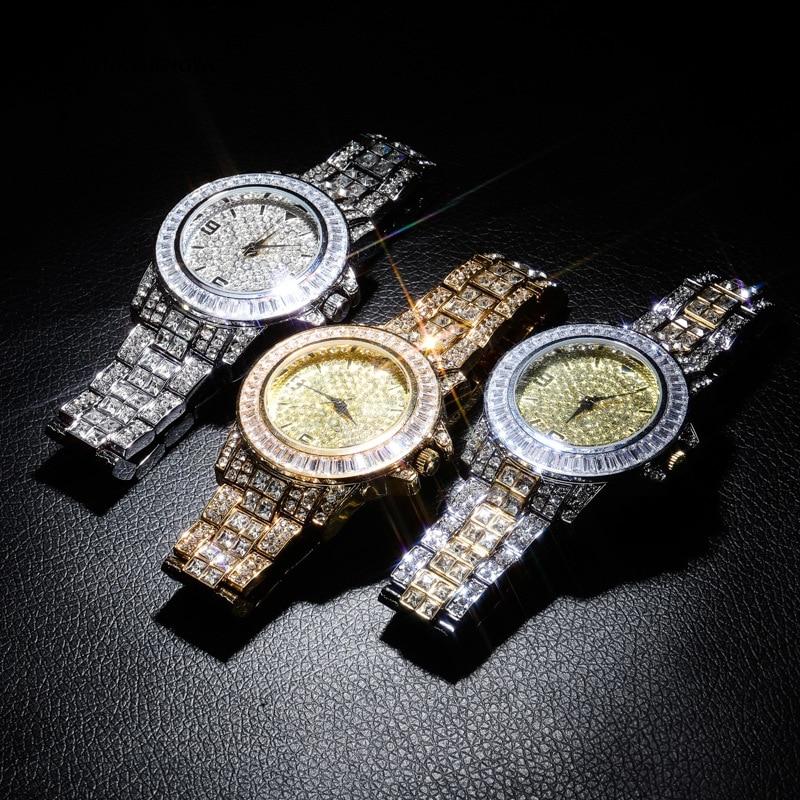 Iced Out Baguette Uhr Quarz Gold Hip Hop Armbanduhren Mit Micro Pflastern CZ Edelstahl Armband Uhr Stunden Für Männer 18K