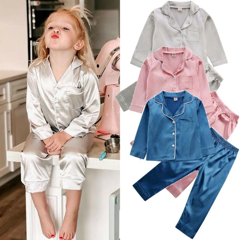 Childrens Kids Pyjamas Silk Satin Tops Pant Autumn Winter Long Sleeve Sleepwear Nightwear Girl Boy P