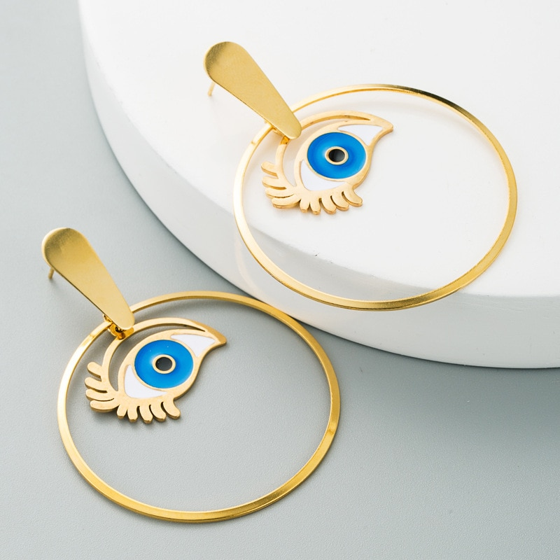 Vintage Fashion Stainless Steel Eye Charm Circle Geometric Gold Earrings For Womem Minimalist Lady's Evil Eye Statement Earring