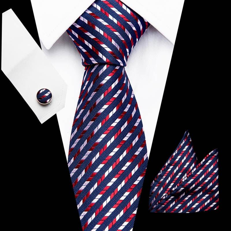 Men`s Tie 100% Silk Jacquard Woven Solid  Necktie Hanky Cufflinks Sets For Formal Wedding Business Party