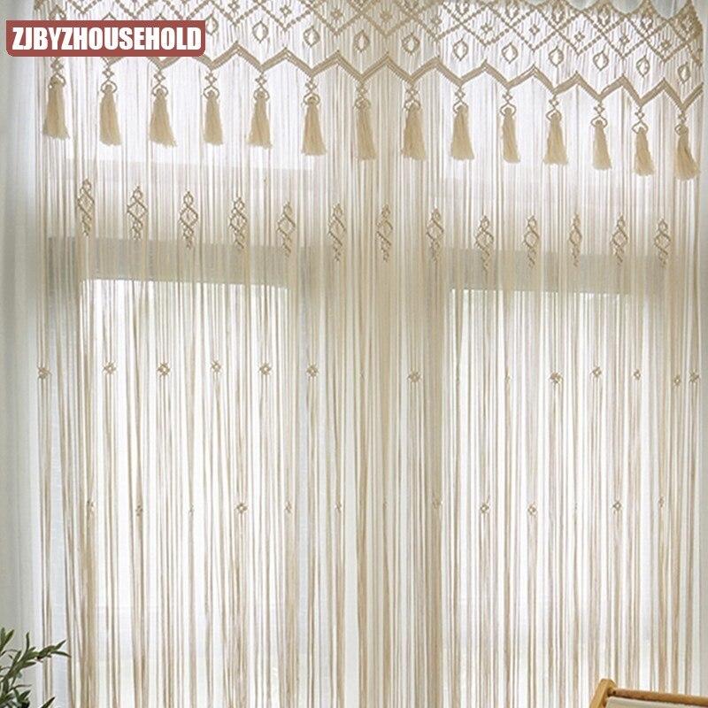 ستارة بيضاء مع شرابة دعوى للمنزل داخلي الزفاف ديكور ونافذة الباب الجدار الشنق مكرمية الستار لغرفة المعيشة