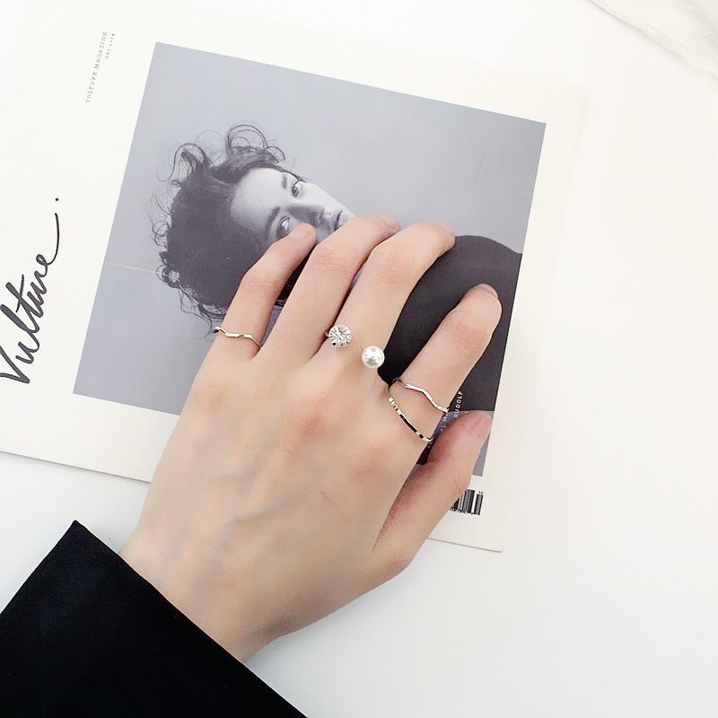 4 pçs/sets coreano moda edição abertura peael anéis para as mulheres feminino dedo junta anel conjunto prateado cor jóias presente de casamento