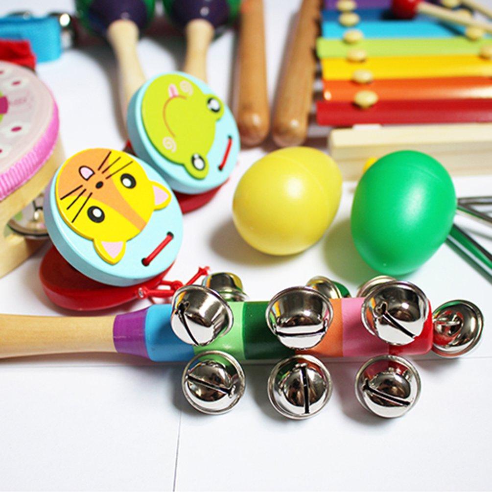 14pcs/set Baby Percussion Set Children's Musical Instruments Souptoys Wooden Instruments Set With Bag