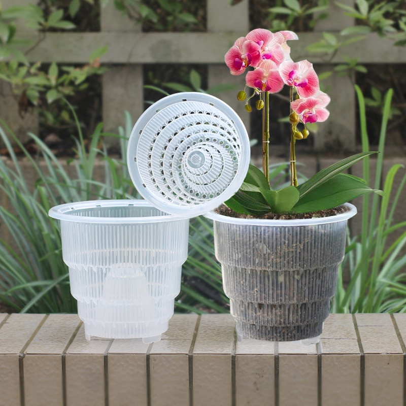 Meshpot 4 5 6 Inches Plastic Clear Orchid Pot With Holes,Flower Pot Planter Orchid Container Planter Garden Pot Planter