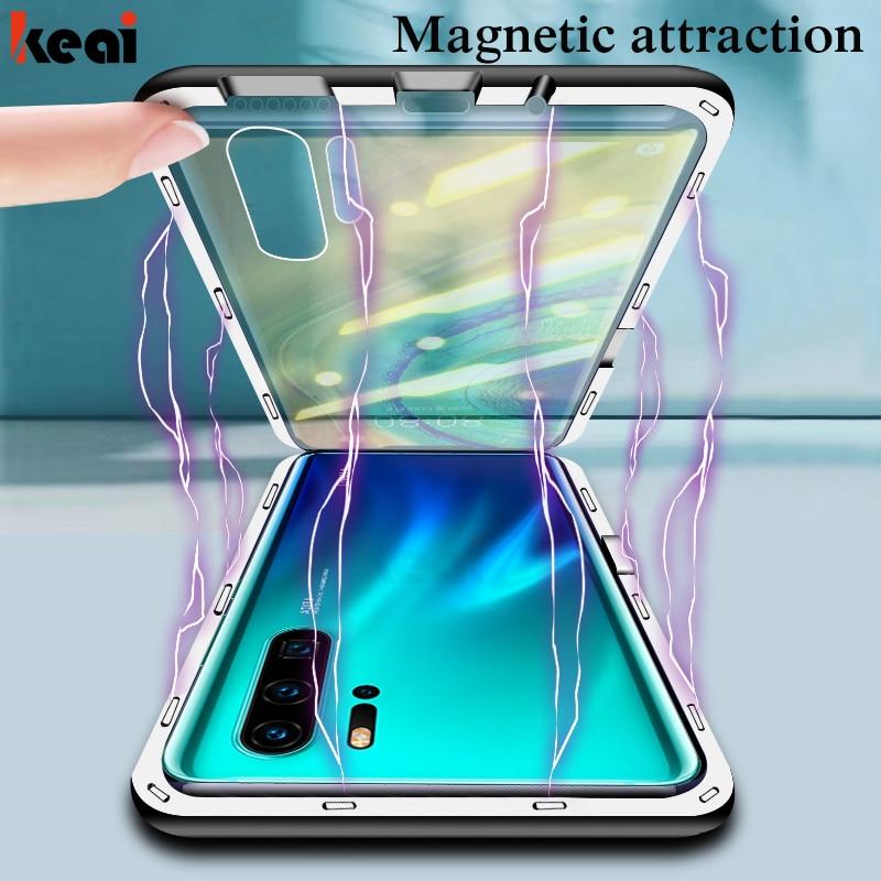 Funda de adsorción magnética para Huawei P30 P20 Lite funda a prueba de golpes para Mate 20 10 Lite P smart 2019 funda trasera de vidrio templado