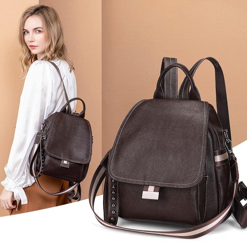 حقيبة ظهر نسائية حقيبة مدرسية تصميم موضة متعددة الاستخدامات سعة كبيرة ثنائي الاستخدام جلد ناعم للغاية ضد السرقة بكتف واحد للسفر Ba