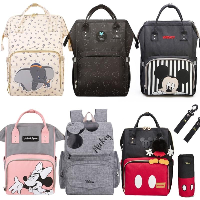 Disney Baby Diaper Bags Large Capacity Baby Stroller Insulated Bag Travel Organizer Baby Bag Set Lightweight Diaper Bag Backpack