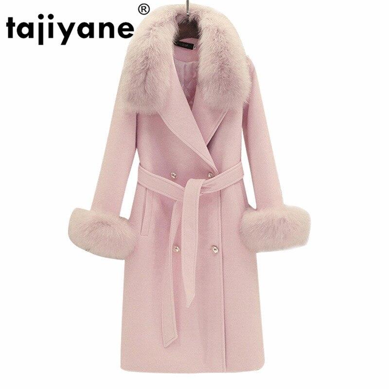 Abrigo de piel de zorro con cuello Real, chaqueta de lana para mujer, abrigo de Otoño Invierno, ropa para mujer, abrigo de lana largo Vintage 2020 coreano ZT5067