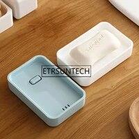 100pcs bathroom soap box plastic soap dish creative double draining soap holder plastic containers with drain