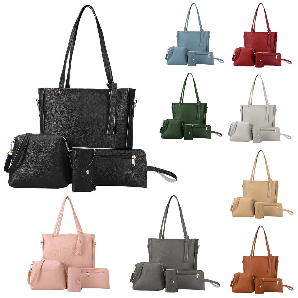 New Wave Fashion Four-piece Tassel Shoulder Bag Pu Leather Ladies Handbag Wild Casual Messenger Bag
