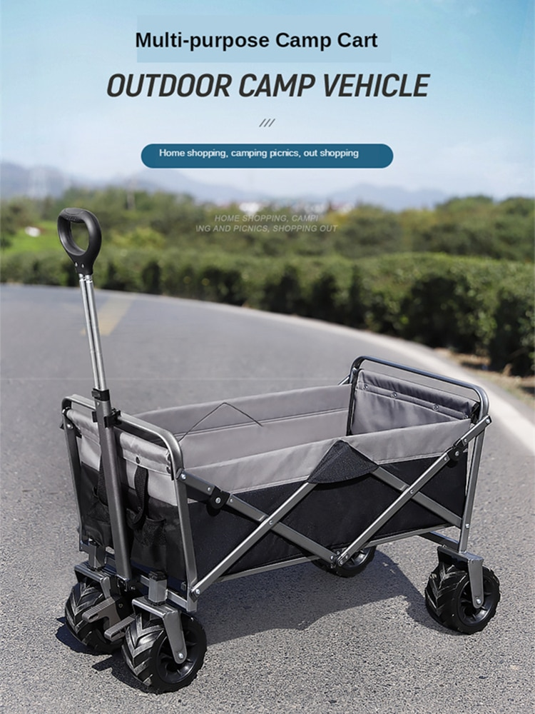 Heavy Duty Collapsible Folding All Terrain Utility Wagon Beach Cart Attached Table Universal Wheels & Adjustable Handle