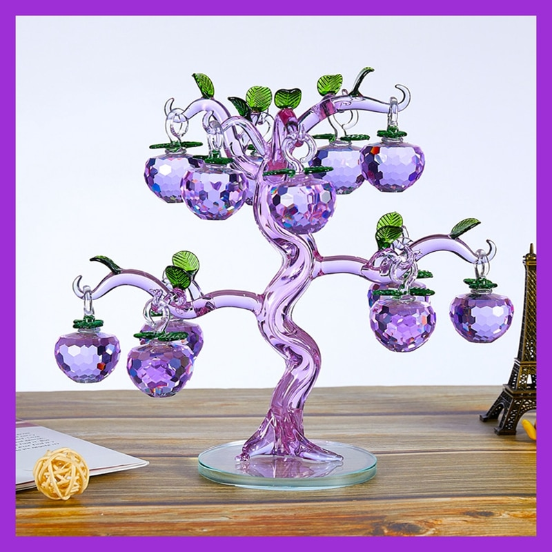 12 Hangs Crystal Pink Purple Yellow Apple Tree Ornament Handmade Crafts Figurines for Home Decor Party Wedding Favor Gift