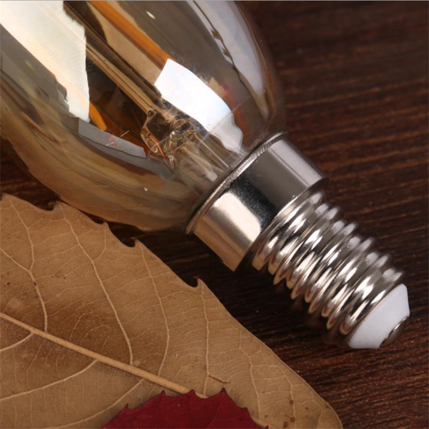 free shipping Amber Frosted Glass Cover E14 4W 500lm C35 Vintage Led Candle Bulbs Dimmable enlarge