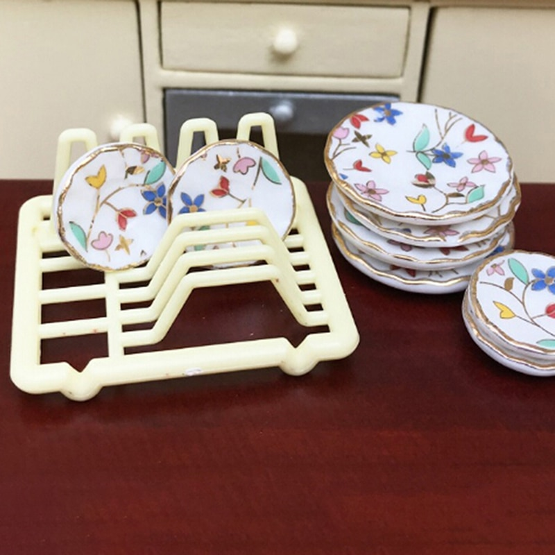 1/12 puppenhaus Miniatur Zubehör Mini Dish Rack Simulation Möbel Küche Lagerung Regal Modell Spielzeug für Puppe Haus Dekor