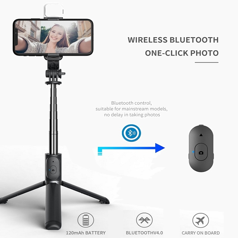FGCLSY Bluetooth selfie stick con luz de relleno LED mini trípode extensible...