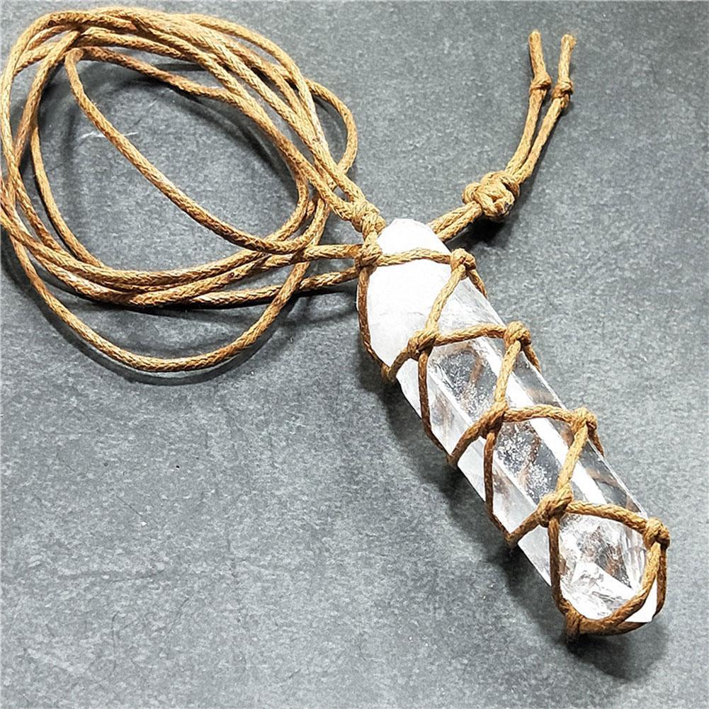 Collar con colgante de cristal de cuarzo, colgante de cristal blanco Natural, amuleto de la suerte, piedra de la suerte, vara de Reiki, colgante 2019