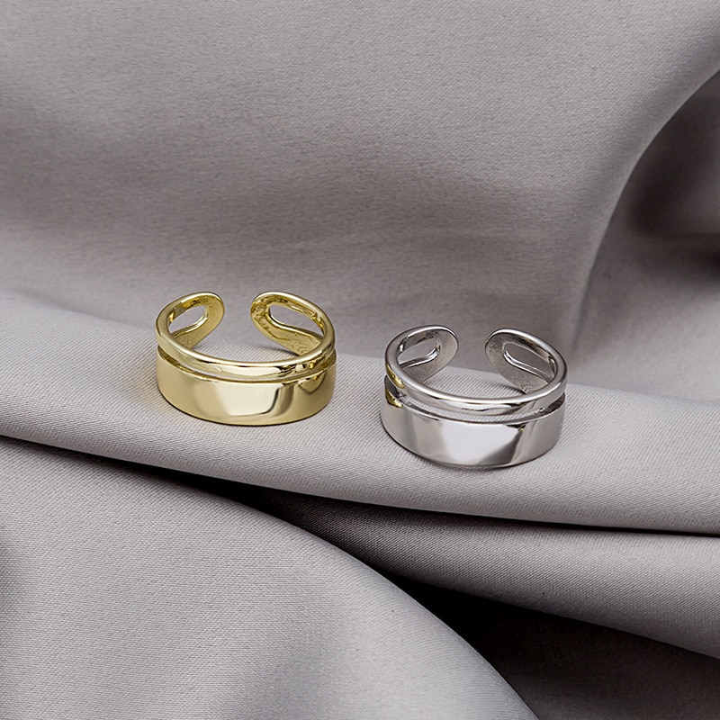 Korean Double Layer Open Metal Rings For Women Gold Silver Hollow Geometric Finger Ring Fashion Jewelry Wedding Female 2021 Hot