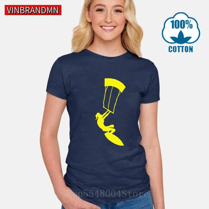 Cool Girl kitesurf camiseta Kite kiteboard regalo camiseta mujeres Vintage Kite Boarding camiseta verano deportes extremos Hipster camiseta