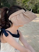 wide brim shell hats for women empty top sun hat anti uv summer hat outdoor sunscreen travel beach caps solid hair band