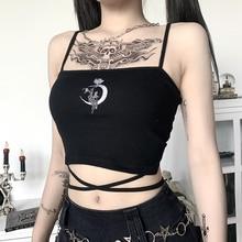 Gothic Women's Print Suspender Sleeveless Square Neck Slim Crop Top Sexy Halter Bottoming Shirt 2020 Girls Party Wear