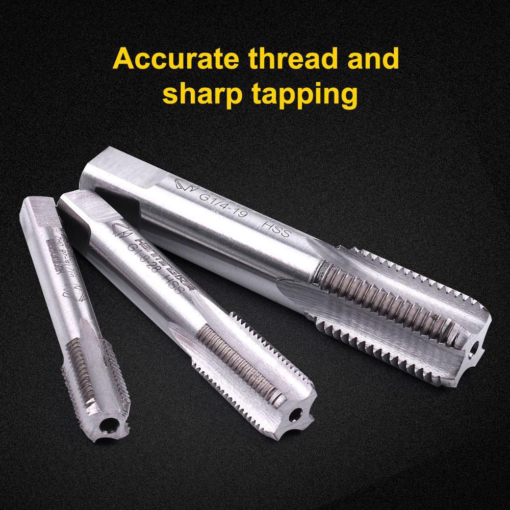 3 uds 8mm,10mm, 13,5mm rosca derecha flauta recta rosca de tubo Tap / NPT HSS taladro de perforación herramientas