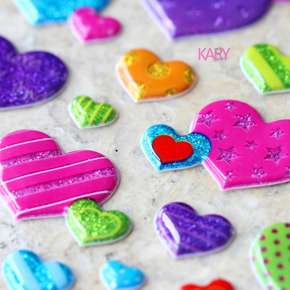 Regalo especial de alta calidad, juguetes de premio para niños, colorido Retro, en forma de corazón, amor, alma gemela, Scrapbooking, burbujas brillantes, pegatinas LC13
