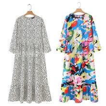 RICORIT Dots Print Maxi Dress Women Fashion Three Quarter Pleated Female Straight Ankle-Length Dress Casual Chic Vestido Платье