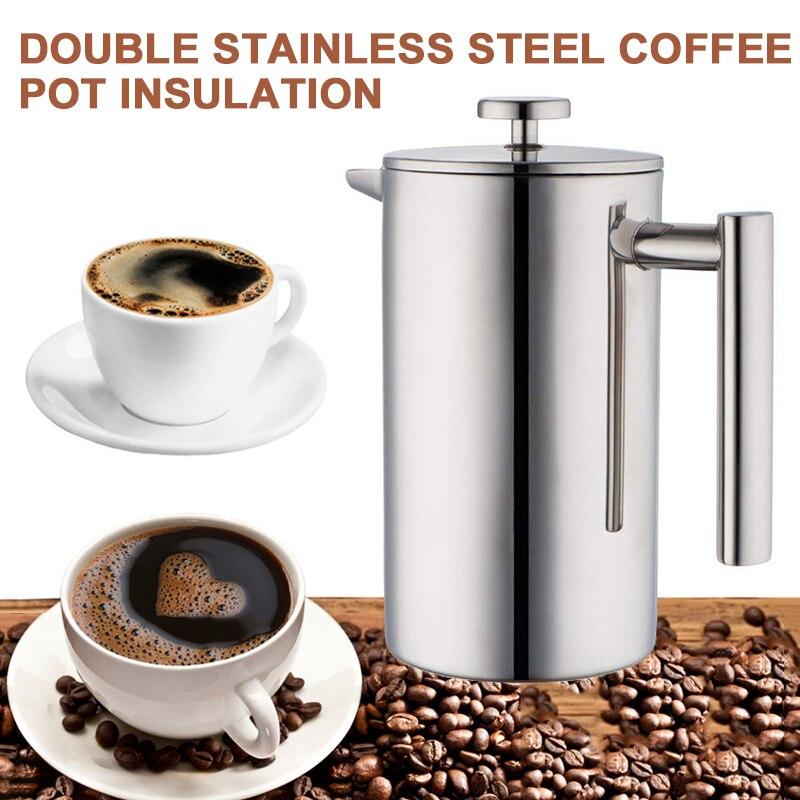 أوعية قهوة مزدوجة الجدار وسعة كبيرة يدوية كافيتيير حاويات قهوة إناء ضغط فرنسي إبريق شاي مع مصفاة 350 مللي