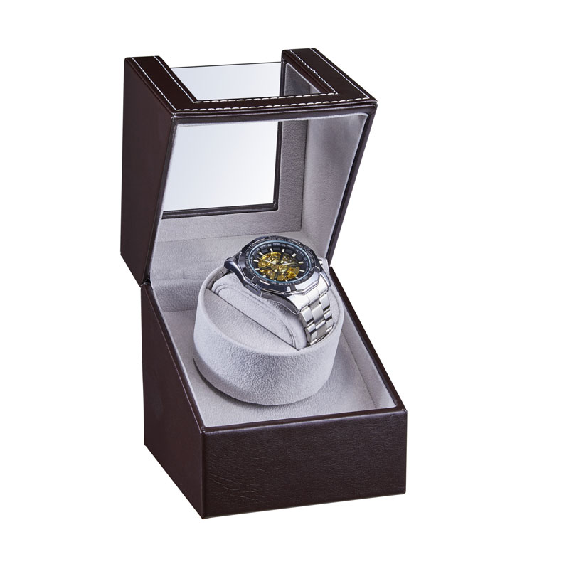 Mini caja de bobinadora automática de reloj de cuero PU bobinadora caja de almacenamiento para reloj colección de visualización caja de Motor silenciosa
