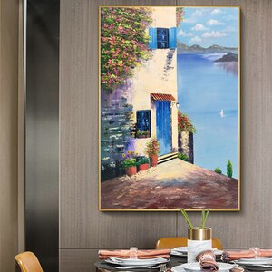 Hand painted European Mediterranean landscape painting wall oil painting villa aisle mural porch vertical decorative painting
