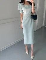 retro square collar summer womens dress chic puff sleeves elegant slim fit split ol office ladies midi vestidos