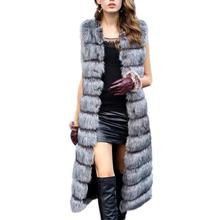 Women Winter Fur Jacket Overcoat Long Imported Sleeveless Faux Fox Fur Vest Women Faux Fur Vest Coat