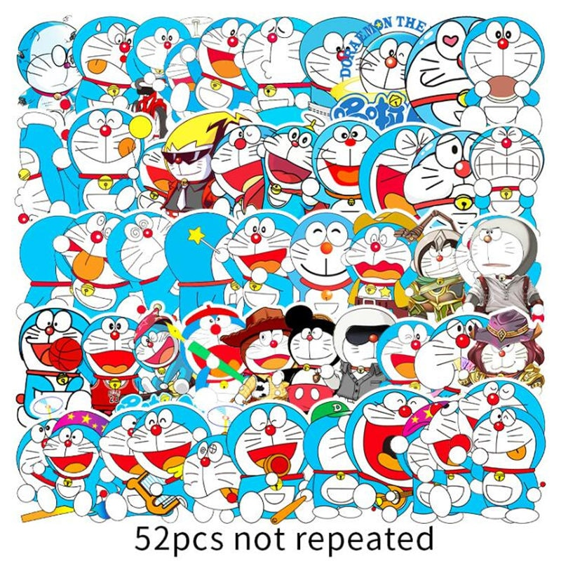 52 unids/set Doraemon pegatinas de grafiti para equipaje portátil Notebook refrigerador coche motocicleta juguete teléfono pegatinas de dibujos animados