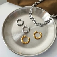 unusual female accessories glossy 18k gold plated hoop earring for women stainless steel earrings fashion womens jewelry 2021