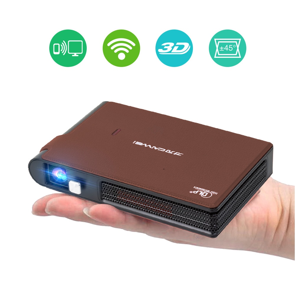 Pocket Wifi Projector Mini HD DLP Battery Support 1080P Airplay 3D, Small Wireless Portable Pico Siz