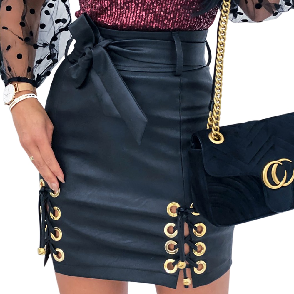 2020 Faux Leather Skirt Girls Punk Lace Up High Waist Skirts Womens Fashion PU Leather Black Pencil Mini Skirts jupe femme D30