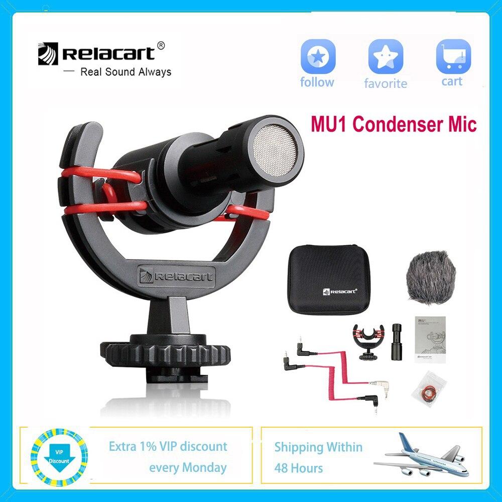 ميكروفون مكثف من Relacart MU1 بميكروفون استوديو لكاميرات DSLR الهواتف الذكية والأجهزة اللوحية Tik Tok Youtube تسجيل الفيديو عبر مسجل الفيديو