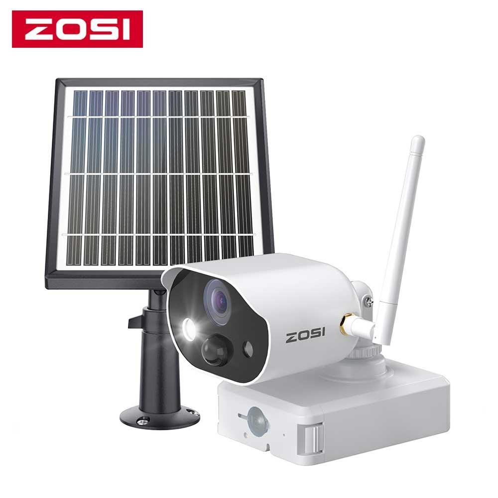 ZOSI-كاميرا مراقبة لاسلكية مع لوحة شمسية ، بطارية قابلة لإعادة الشحن ، WiFi ، Full HD 1080P ، للاستخدام الداخلي والخارجي ، صوت ثنائي الاتجاه ، PIR