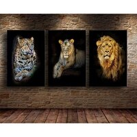vintage animal print canvas painting lion tiger leopard pictures poster living room bedroom wall art mural home decoration