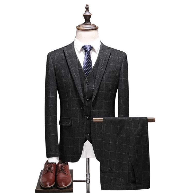 Новинка 2020, стильные свадебные костюмы Bestman, повседневные клетчатые мужские костюмы высокого качества, мужские деловые костюмы (пиджак + жил...