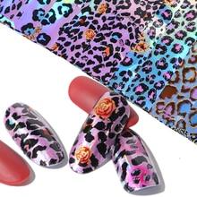 16 stücke Leopard Nail art Transfer Folie Set Holographische Gemischt Farbe Starry Sky Papier Shinning Charming Maniküre Adhesive Tipps BE936