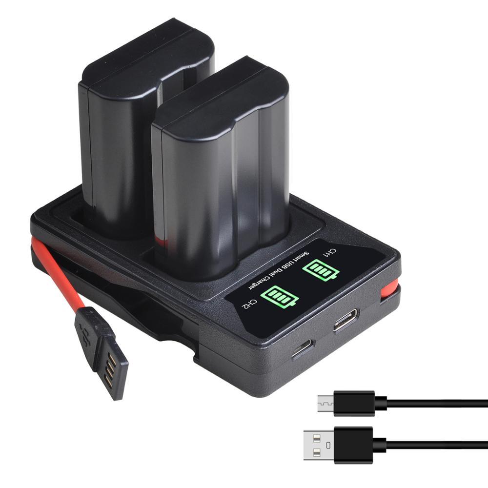 Batería de EN-EL15 EN EL15 EN-EL15A + cargador Dual USB LED incorporado para Nikon D500 D600 D610 D750 D7000 D7100 D7200 D800 D800E D810